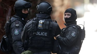 Armed police in Martin Place during the Lindt cafe siege.