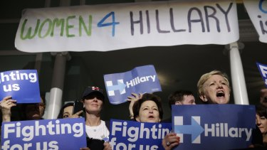 Supporters of Democratic presidential candidate Hillary Clinton cheer during a 'Women for Hillary' event in New York in April.