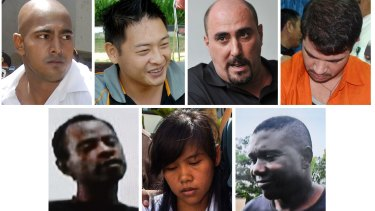 On death row: (from top left) Australians Myuran Sukumaran and Andrew Chan, Frenchman Serge Atlaoui and Brazilian Rodrigo Gularte, (bottom row) Nigerian Raheem Agbaje Salami, Filipina Mary Jane Fiesta Veloso, and Nigerian Silvester Obiekwe Nwolise.