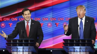 Donald Trump debates Florida Senator Marco Rubio who has endorsed him, prior to being nominated by the Republican party as its presidential candidate.