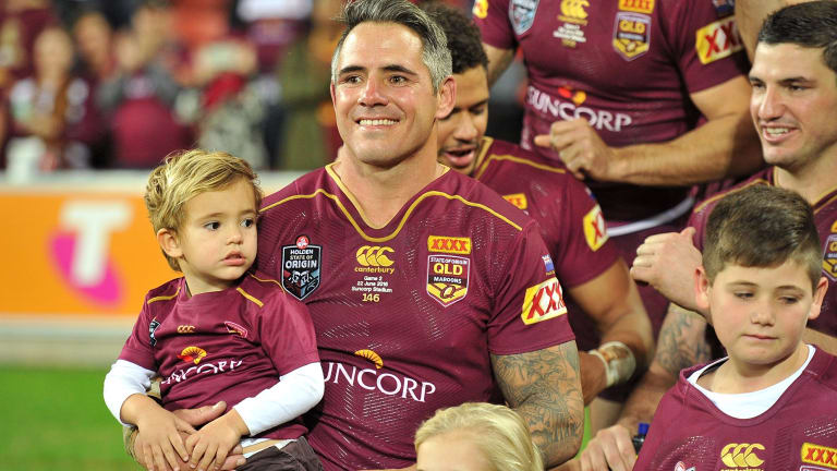 Should Suncorp Stadium be renamed Lang Park? Corey Parker of the Maroons celebrates victory with family and team mates after game two of the 2016 State Of Origin series at the stadium.