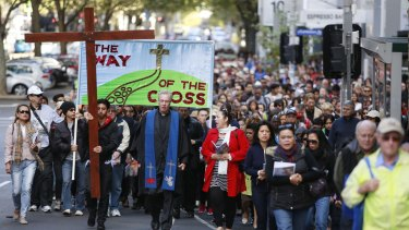 The Way of the Cross procession in Melbourne's CBD.