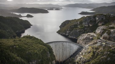 A dam bust? Gordon Dam on Lake Gordon in Tasmania's south-west in better times.