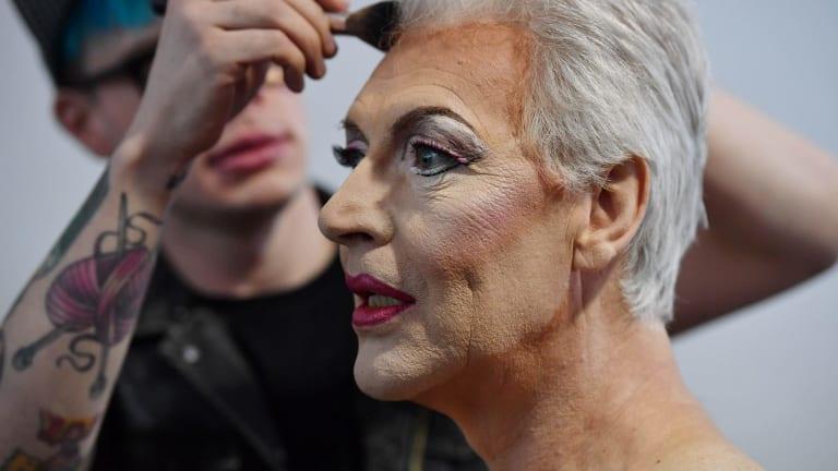Make-up artist Art Simone transforms Tony Sheldon into Bernadette.