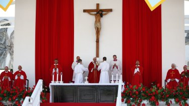 Pope Francis leads a Mass in the Plaza of the Revolution, in Holguin, Cuba.