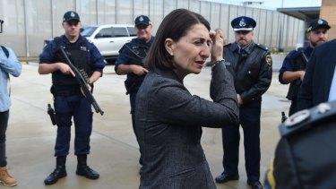 NSW Premier Gladys Berejiklian at Silverwater jail in western Sydney on Sunday.