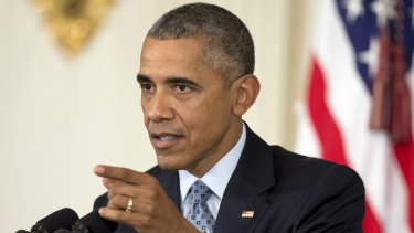 President Barack Obama, in the White House, rejects Russia's military campaign in Syria in October last year.