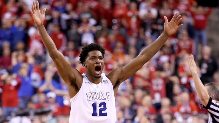 Success: Justise Winslow celebrates after Duke defeated the Wisconsin Badgers during the NCAA Men's Final Four National Championship at Lucas Oil Stadium in April.