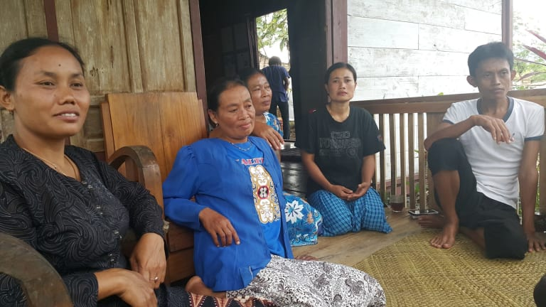 The Tegaldowo protesters from left: Sukinah, Sutini Karsupi, Murtini and Joko Prianto.