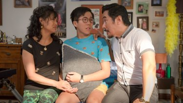 Jenny (Fiona Choi), Ben (Trystan Go) and Danny (Brendan Anthony Wong) in season three of The Family Law.