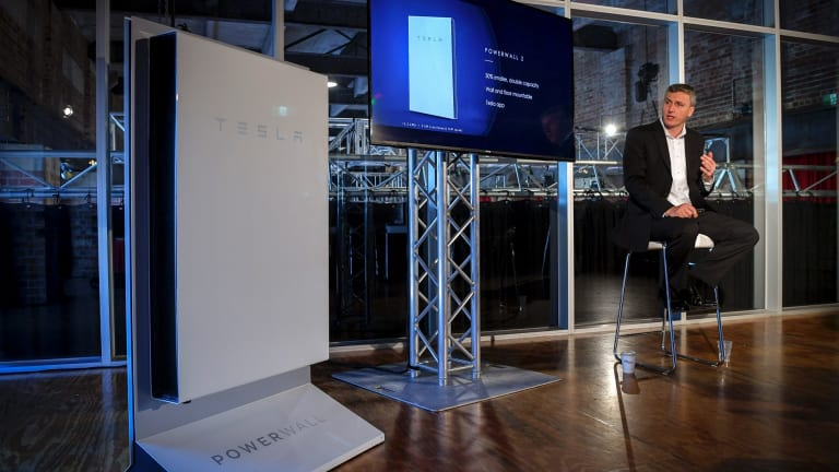 New technology replacing old: the Tesla battery was launched at a former power substation.