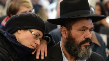 New fear: Jews attend a memorial in Jerusalem for the victims of France's Hyper Cacher supermarket attack in January.