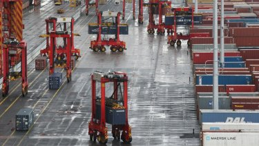 AFR and SMH. A tour of Patrick's new automated port terminal, at Port Botany, Sydney. Asciano CEO John Mullen at the terminal as well as the new technology they have introduced at the terminal, big cranes called Autostrads. Plus general photos of the port and ships being unloaded and loaded and workers at the port. The port is being automated, workers are being replaced by machines, so please take photos of anything technology-related. Photo: Peter Rae Wednesday 17 June 2015.