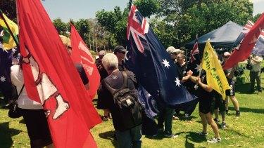 Reclaim Australia members at Parliament House.