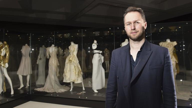 Australian fashion designer Toni Maticevski at Bendigo Art Gallery on Friday.  Photo: Noni Hyett