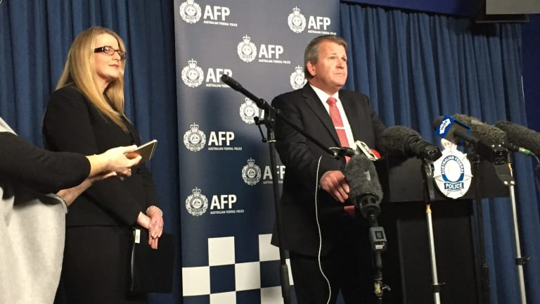 Meg Brighton, deputy director-general of the ACT Education Directorate, and Detective Acting Superintendent Marcus Boorman address a press conference regarding the allegations of a child pornography ring involving Canberra schools.