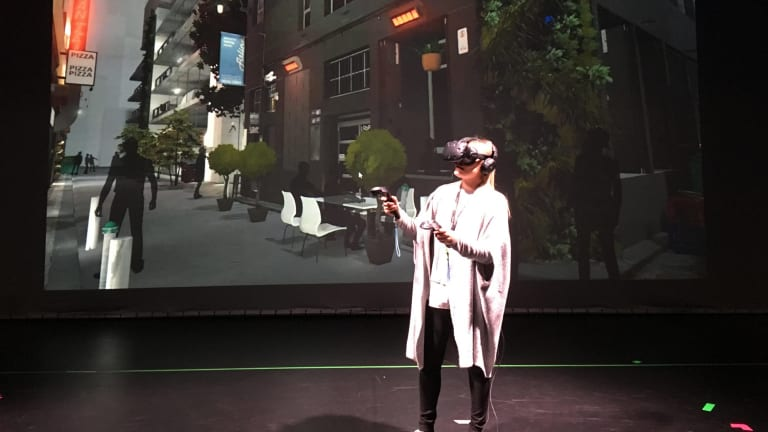 A virtual reality demonstration at City of Melbourne Knowledge Week.