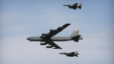 A US Air Force B-52 bomber will take part in a flyover by Vietnam-era aircraft in Canberra on Thursday.