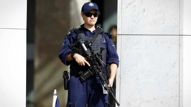 Security outside Parliament House in March.