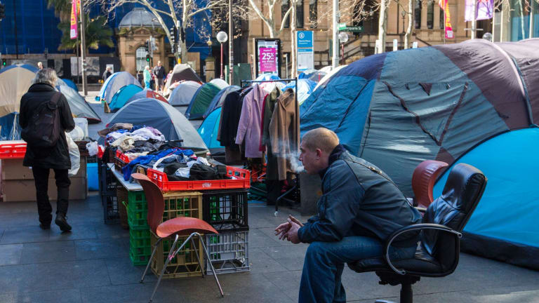 The tent city in front of the Reserve Bank of Australia in Martin Place may be demolished.