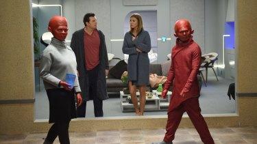 Seth MacFarlane and Adrianne Palicki in the Star Trek reboot The Orville.