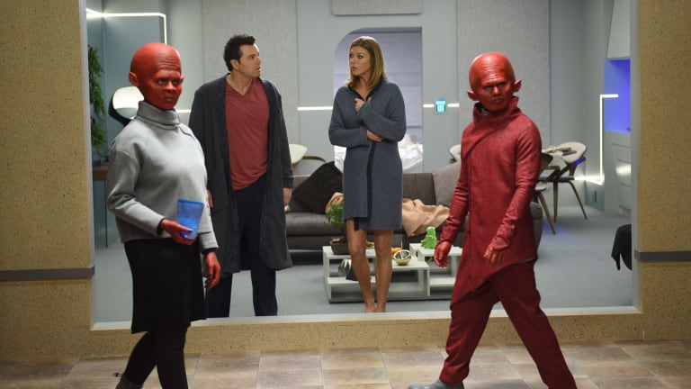 Seth MacFarlane and Adrianne Palicki in the Star Trek reboot The Orville.