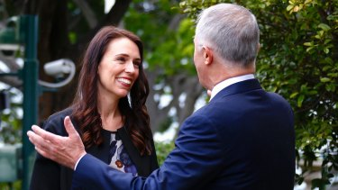 Australian Prime Minister Malcolm Turnbull shows New Zealand Prime Minister Jacinda Ardern around Kirribilli House.