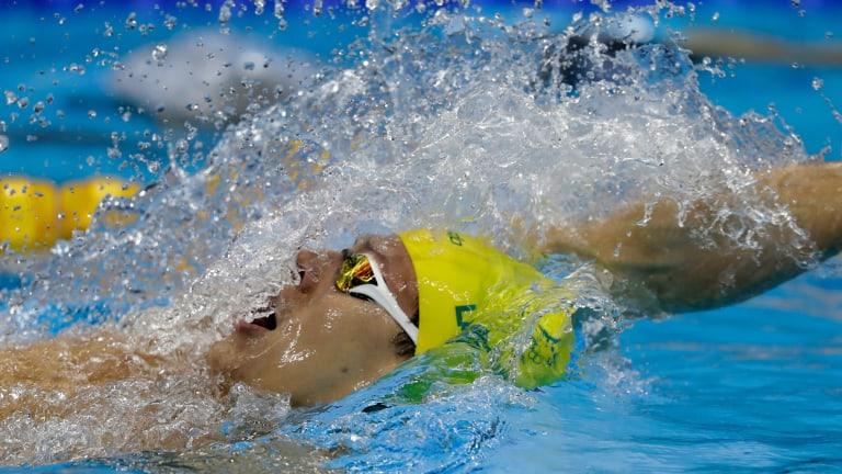 Australia's silver medal winner Mitch Larkin competes in the men's 200m backstroke final.