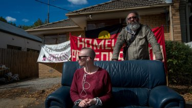 Kelly Whitworth and Joel Byron from the Homeless Persons' Union Victoria which wants the Andrews government to make the houses available to homeless people.