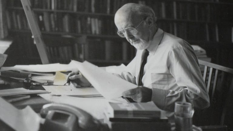 Manning Clark at work in his office.