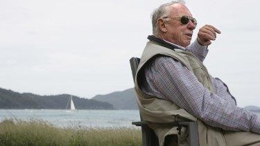 Hamilton Island owner Bob Oatley overlooking the island's main beach.