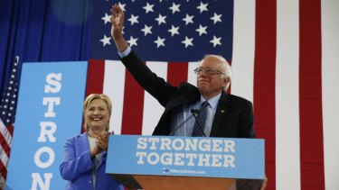 Bernie Sanders and Democratic presumptive presidential candidate Hillary Clinton in New Hampshire on July 12.