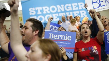 Supporters of both Clinton and Sanders made up the crowd in New Hampshire.