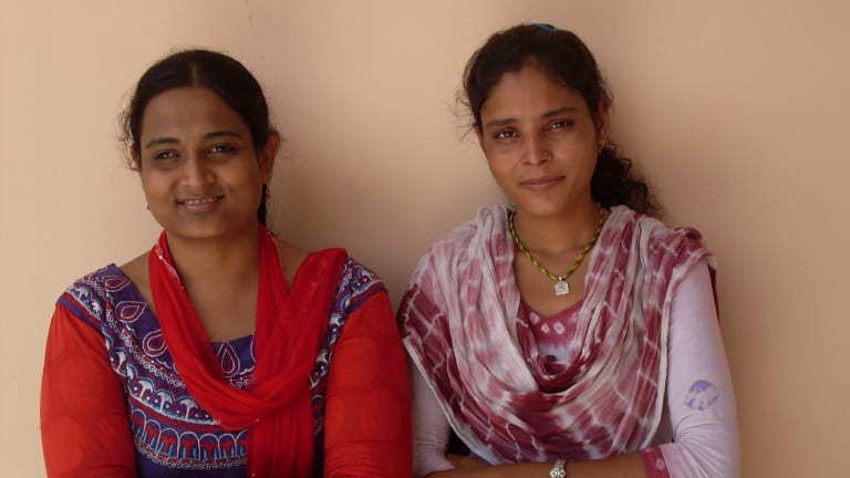 Santa Devi Meghwal (right), now 19, was fined and ostracised for rejecting a marriage arranged when she was 11 months old.