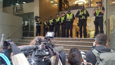 A dozen police officers had been assigned to shepherd the cardinal out of court.