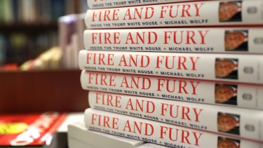 "Copies of the book ""Fire and Fury: Inside the Trump White House"" by Michael Wolff on sale in US bookstores."
