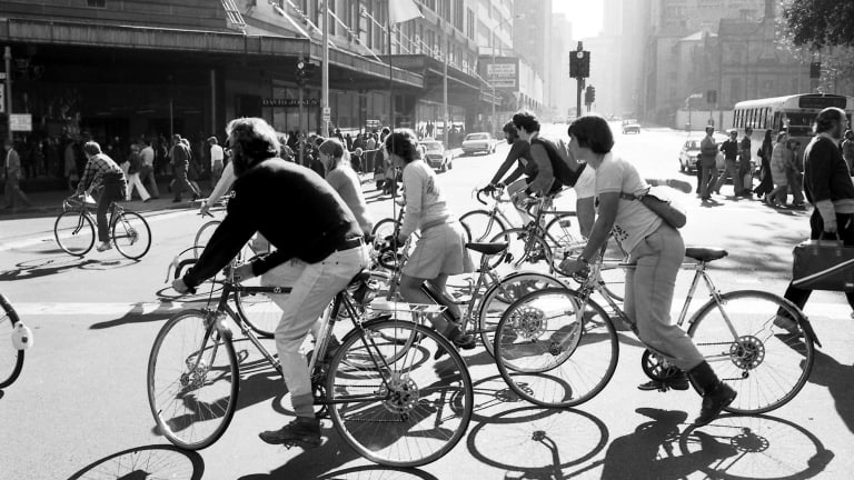 Cyclists in the Sydney CBD on a ride for World Environment Day, June 5, 1976.