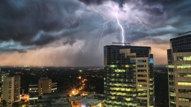 Lightning strike over Chatswood.