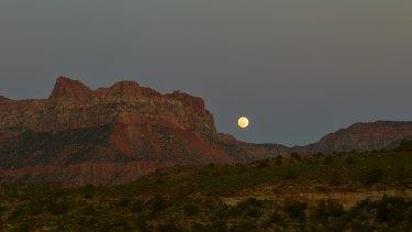 Transcendent: Moonrise over Zion National Park.