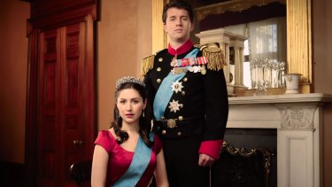 Emma Hamilton (as Princess Mary) and Ryan O'Kane (as Prince Frederik) in <i>Mary: The Making Of A Princess</i>.