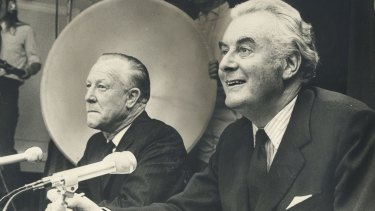 """The duumvirate"": Deputy prime minister Lance Barnard, left, and prime minister Gough Whitlam after they were sworn in to office in 1972."