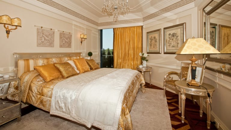 The lavish bedroom.