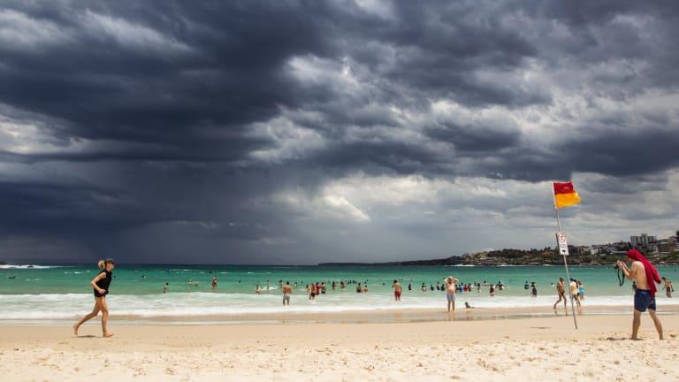 Storm clouds roll in over Bondi Beach