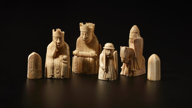 The Lewis Chessmen, found on the Isle of Lewis c1150-1175 CE.