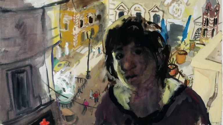 Wendy Sharpe, Self-portrait – Piazza Farnese, in Wanderlust at Aarwun Gallery.