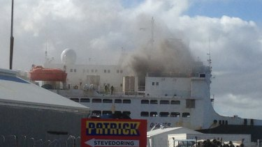 The livestock shop Ocean Drover on fire in Fremantle.