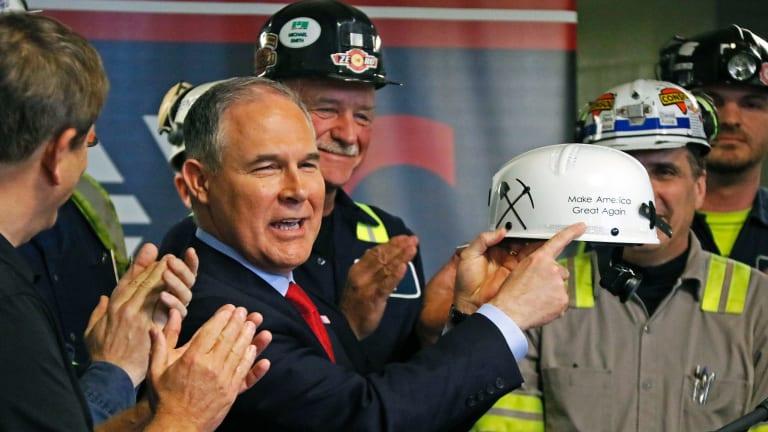 EPA Administrator Scott Pruitt during a visit to Pennsylvania coal mine this week/