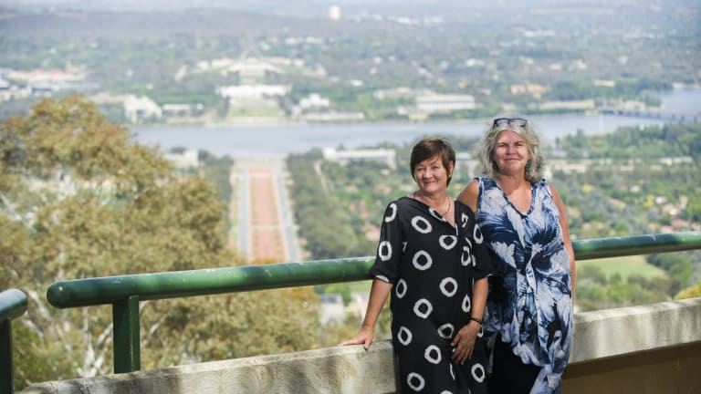 The winners of the Mount Ainslie summit design competition, Jane Irwin and Sue Barnsley.