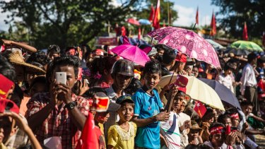 National League for Democracy supporters line up to see Aung San Suu Kyi earlier this month in Rakhine, Myanmar. The Nobel laureate has remained silent on the plight of the Rohingya Muslims.