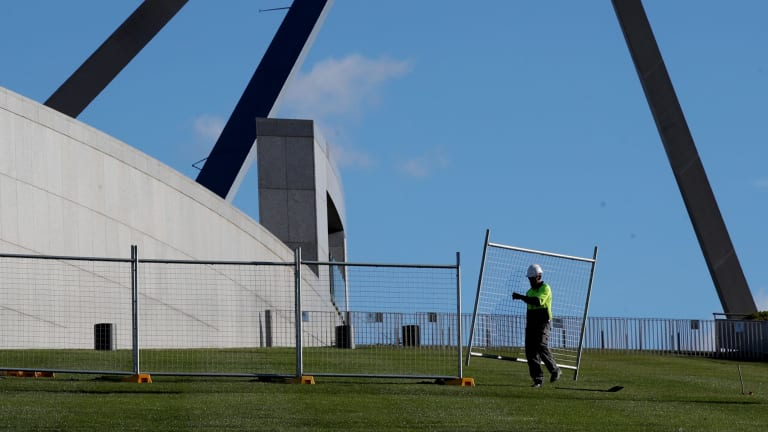 A temporary fence was installed at Parliament House in June.